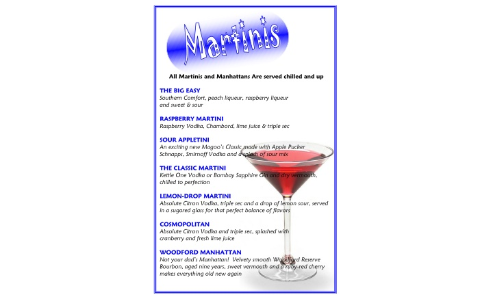 all martinis and manhattans are served chilled