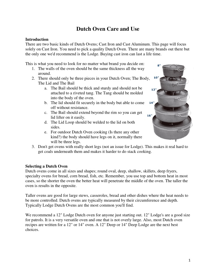 dutch oven care and use