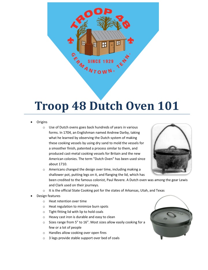 troop 48 dutch oven 101