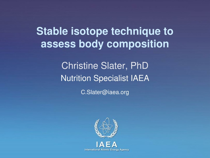 stable isotope technique to assess body