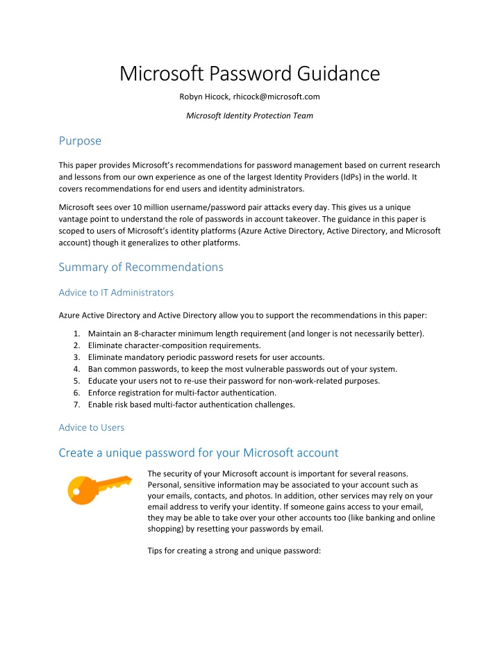 microsoft password guidance