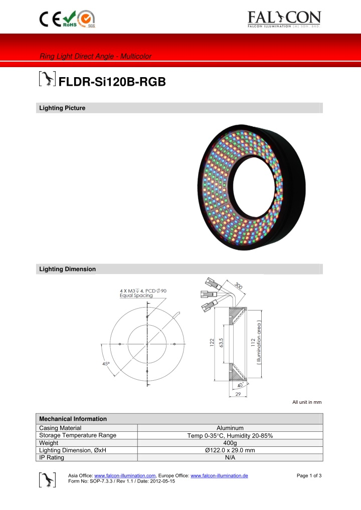 ring light direct angle multicolor fldr si120