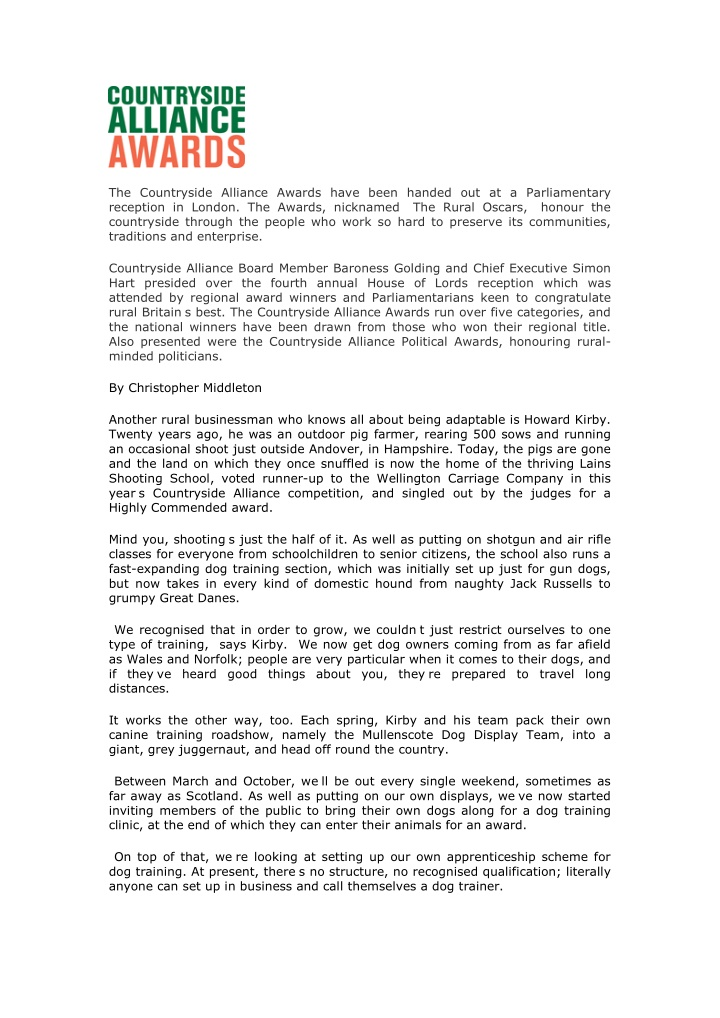 the countryside alliance awards have been handed