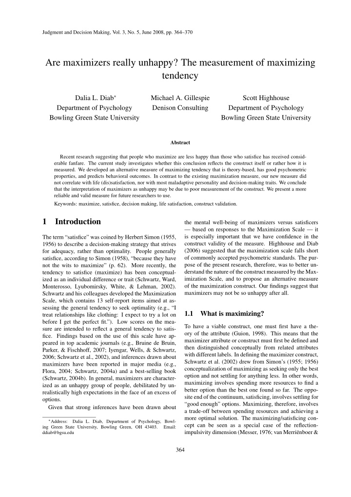 judgment and decision making vol 3 no 5 june 2008
