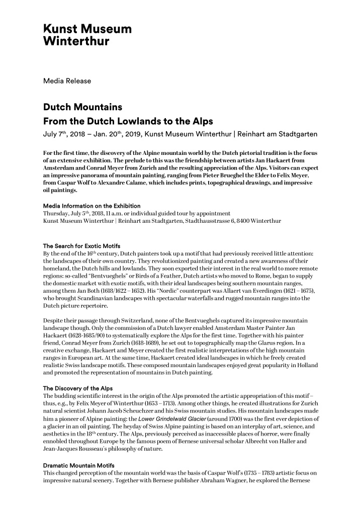 media release dutch mountains from the dutch