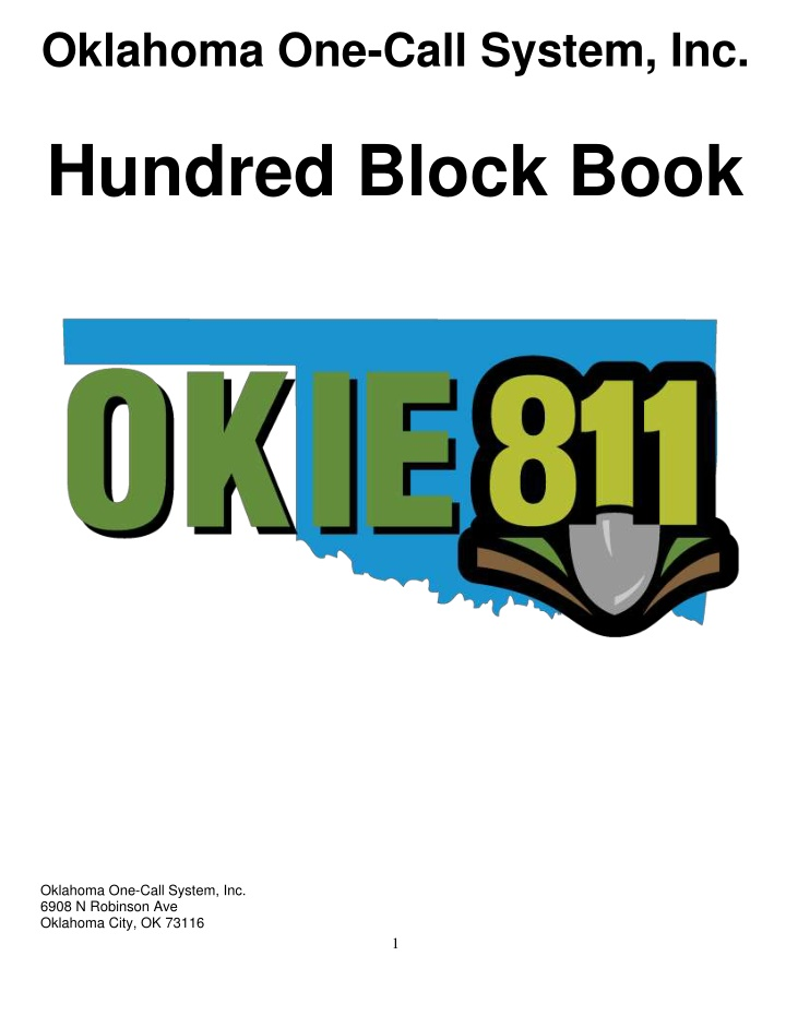 oklahoma one call system inc hundred block book