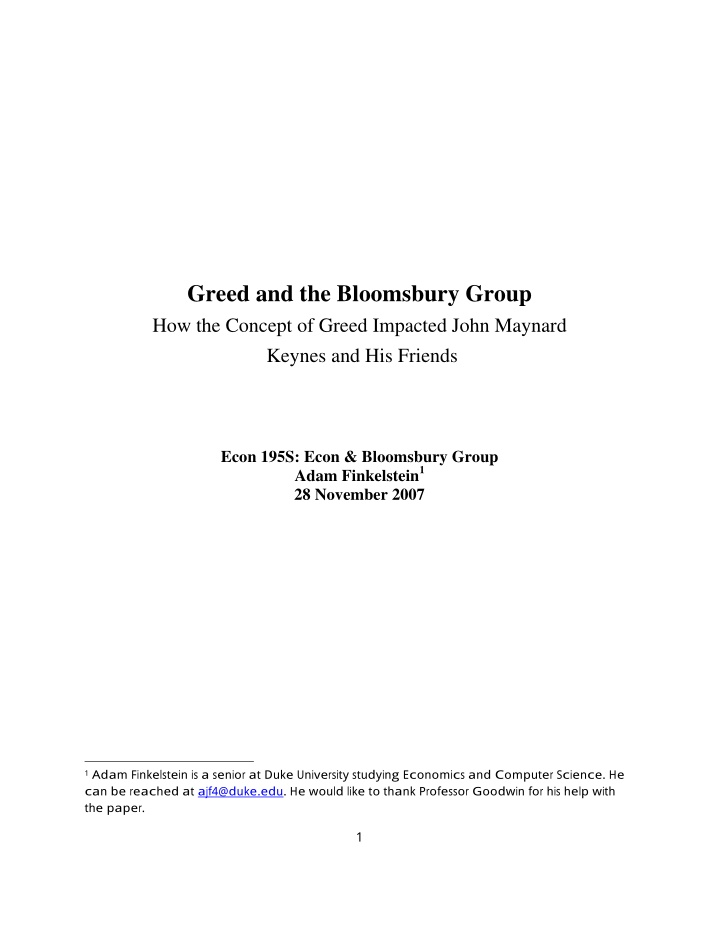 greed and the bloomsbury group how the concept