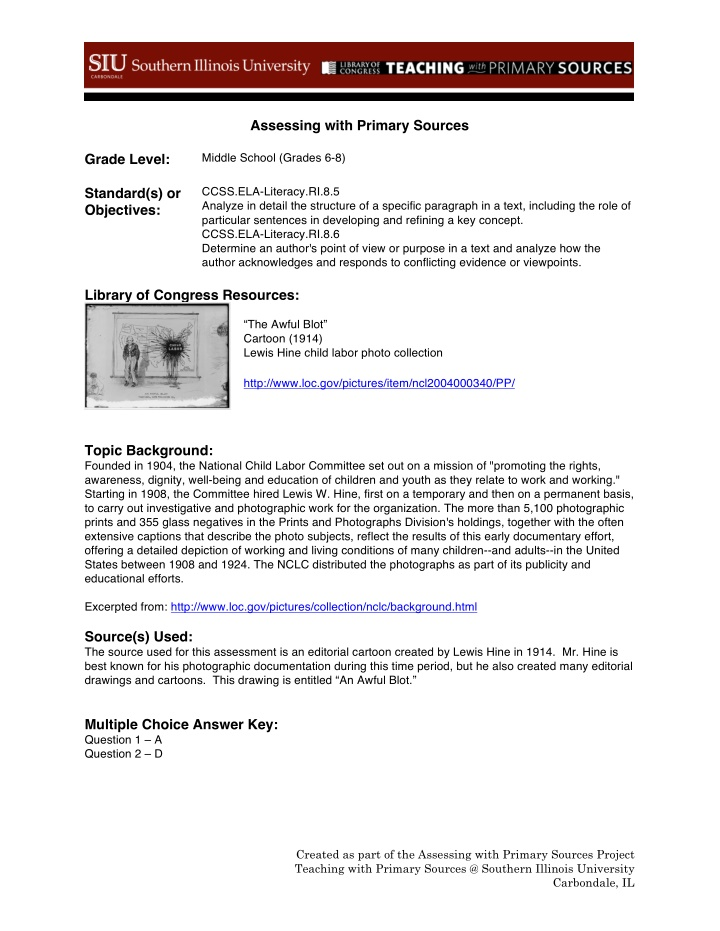 assessing with primary sources