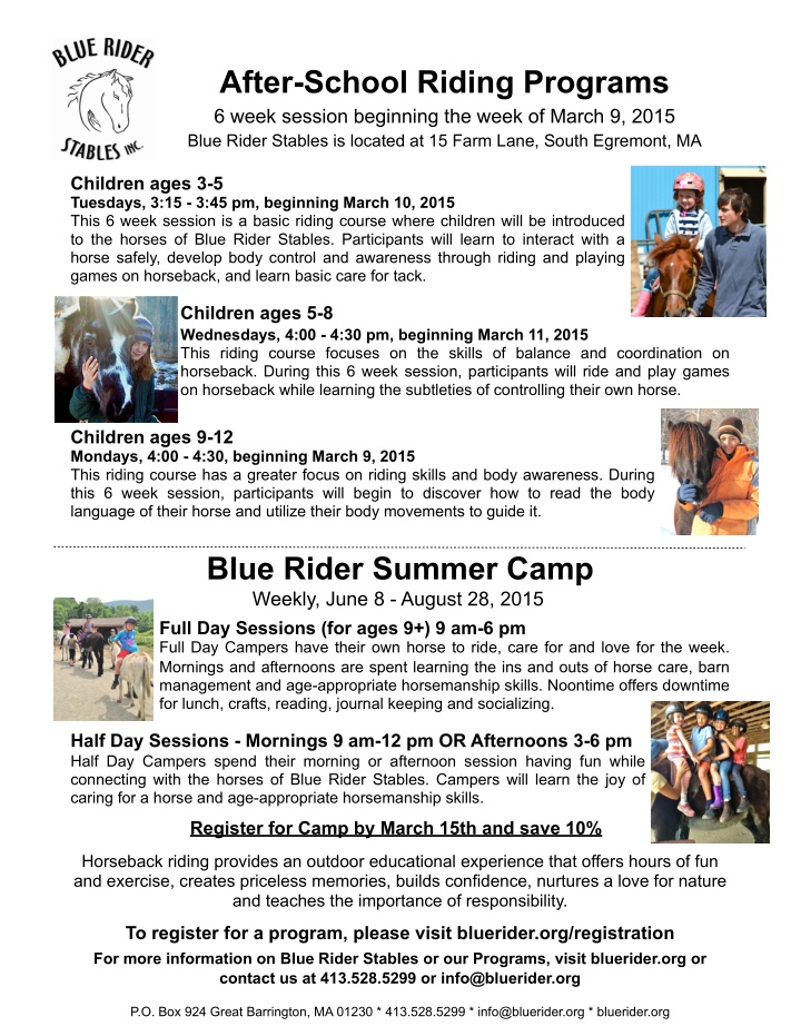 after school riding programs 6 week session