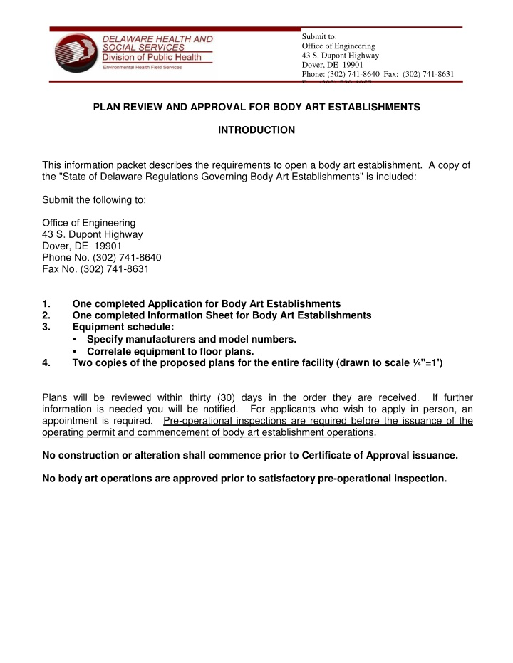 submit to office of engineering 43 s dupont
