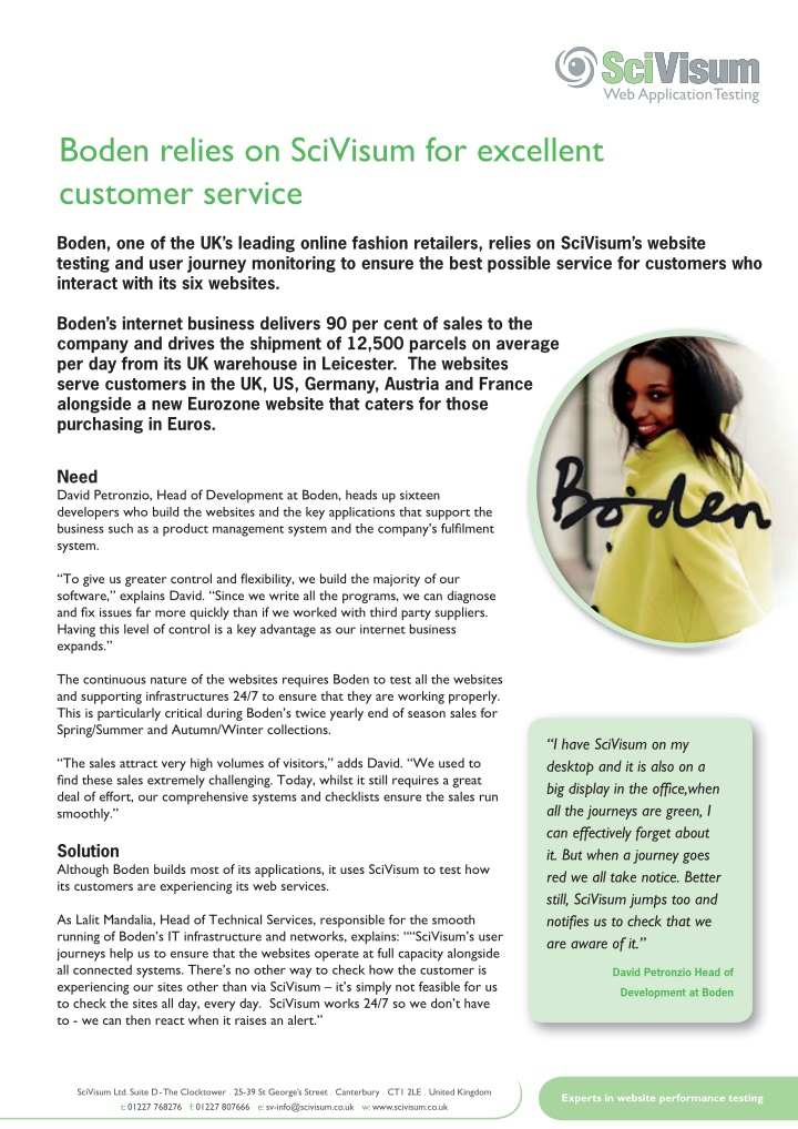 boden relies on scivisum for excellent customer