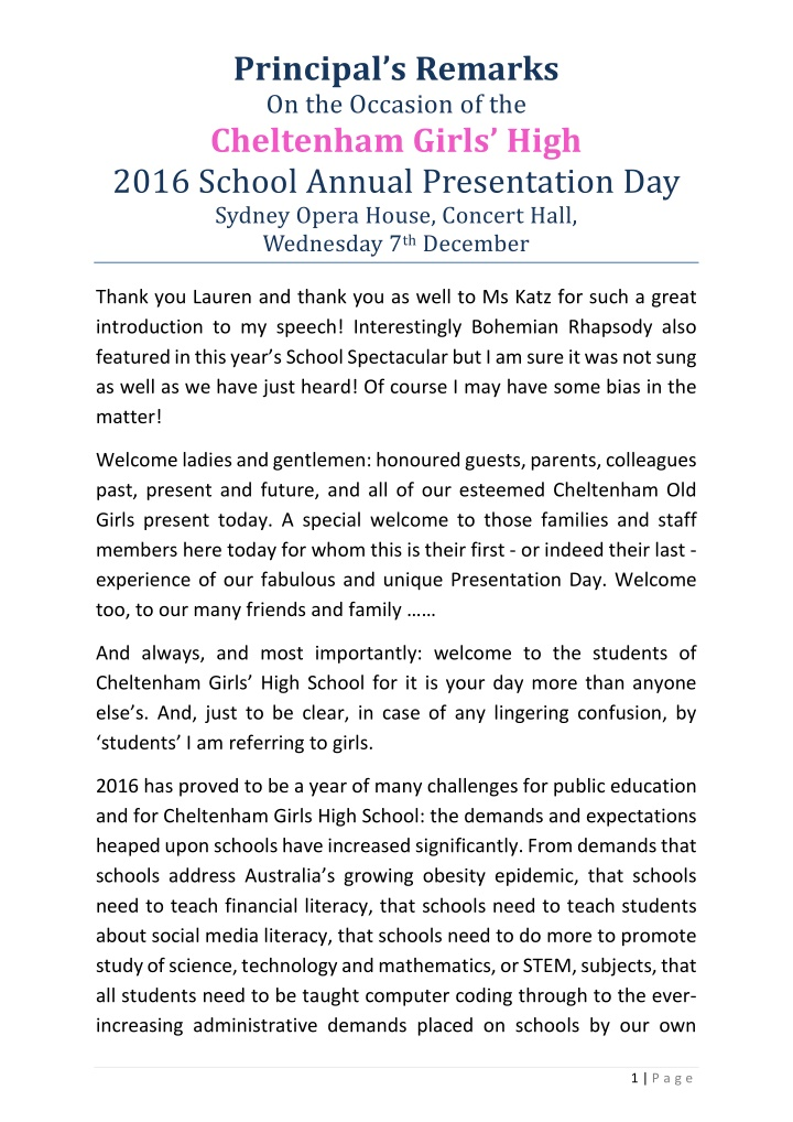 principal s remarks on the occasion
