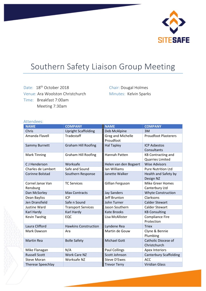 southern safety liaison group meeting