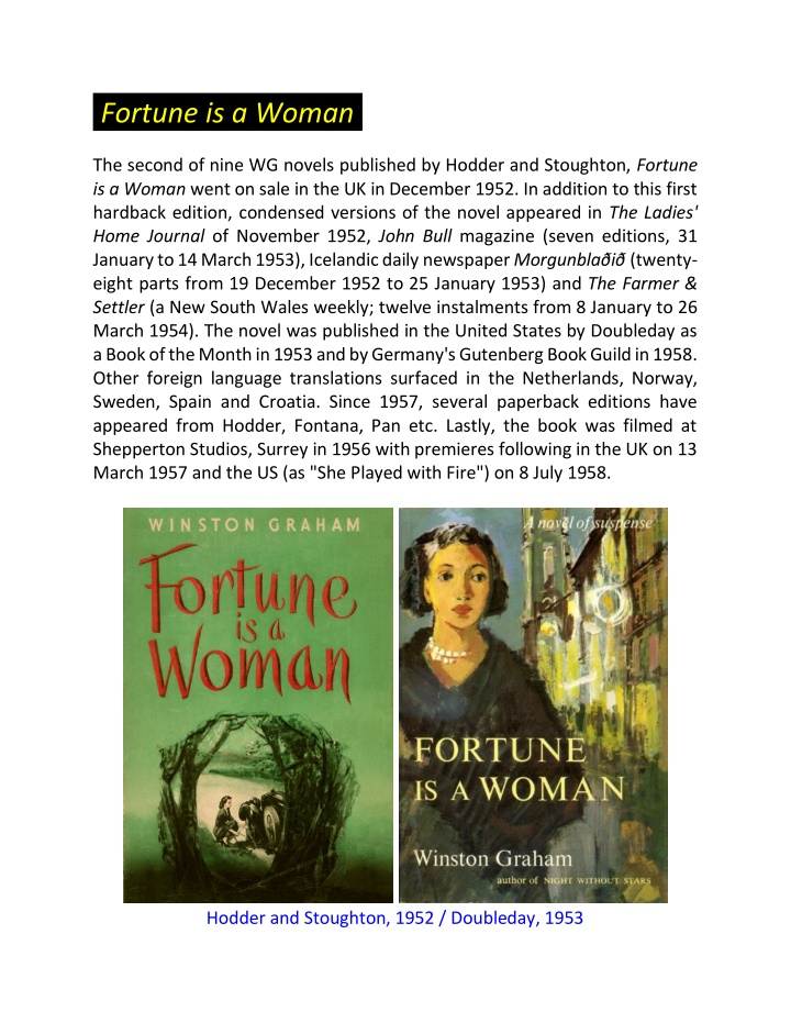fortune is a woman the second of nine wg novels