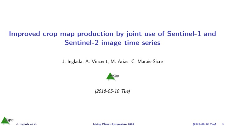 improved crop map production by joint
