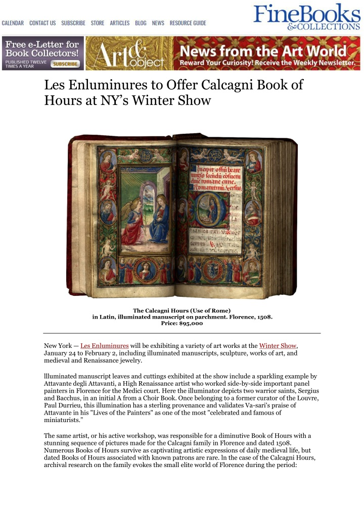 les enluminures to offer calcagni book of hours