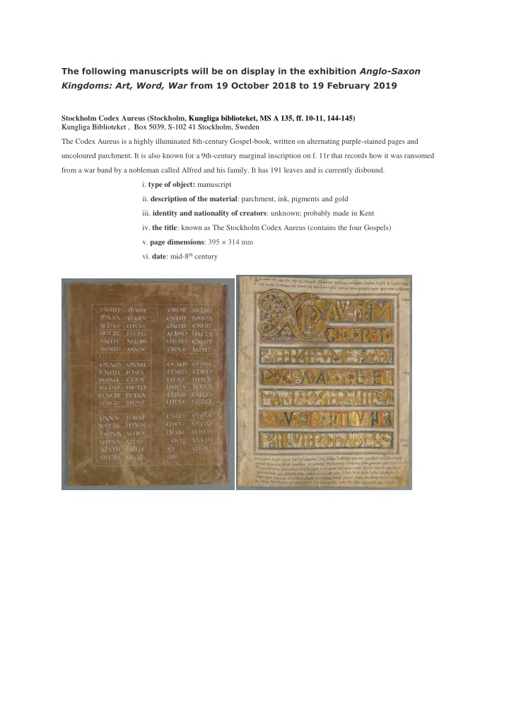 the following manuscripts will be on display