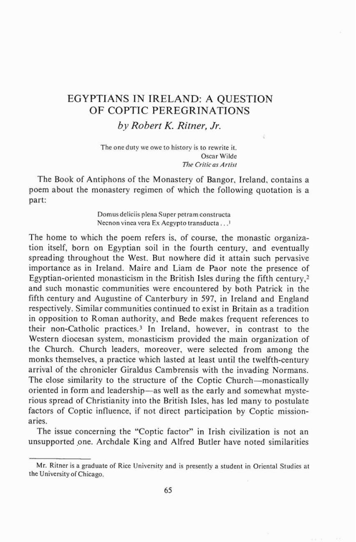 egyptians in ireland a question o f coptic