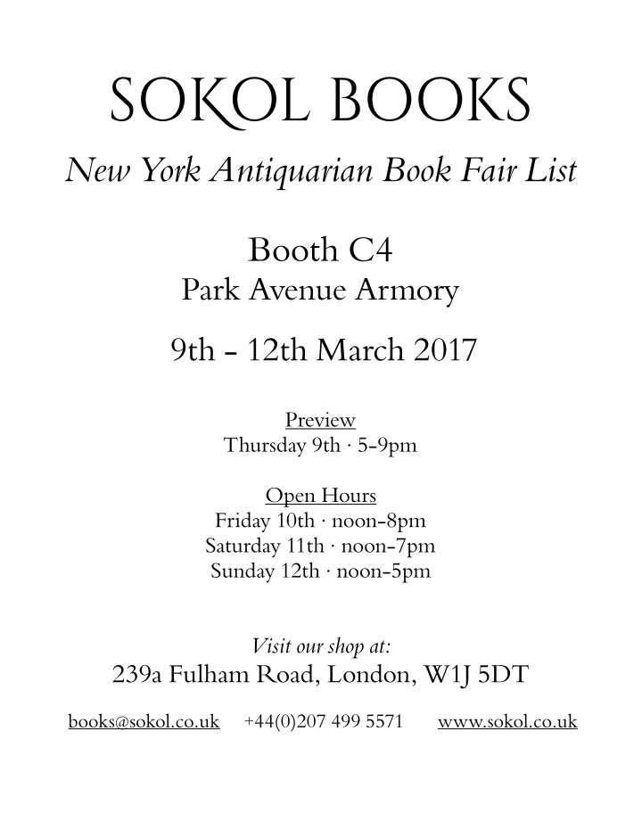 so k ol books new york antiquarian book fair list