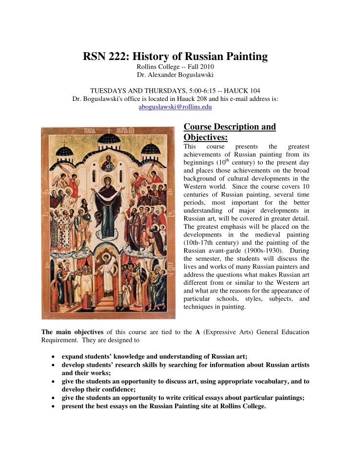 rsn 222 history of russian painting rollins