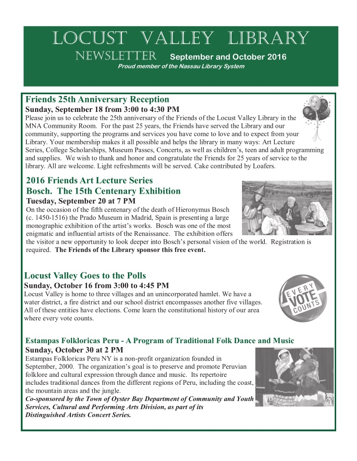 locust valley library newsletter september