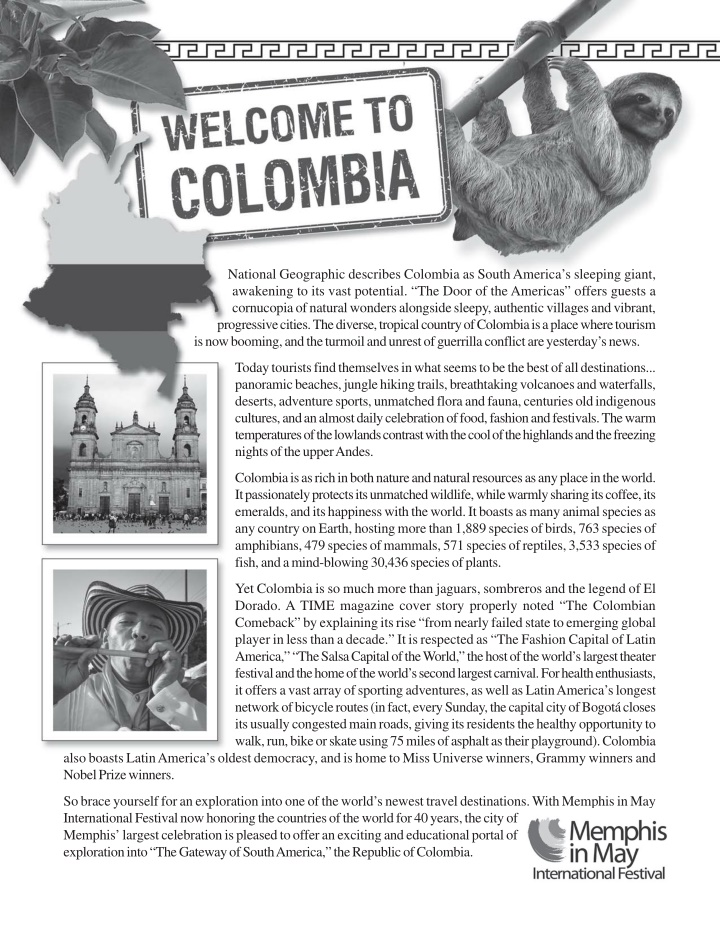 national geographic describes colombia as south