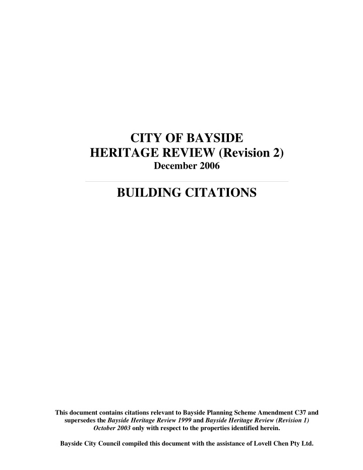 city of bayside heritage review revision