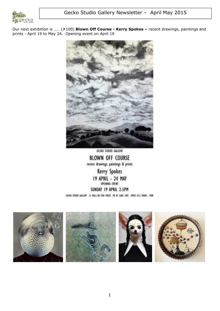 gecko studio gallery newsletter april may 2015