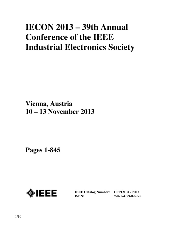 iecon 2013 39th annual conference of the ieee