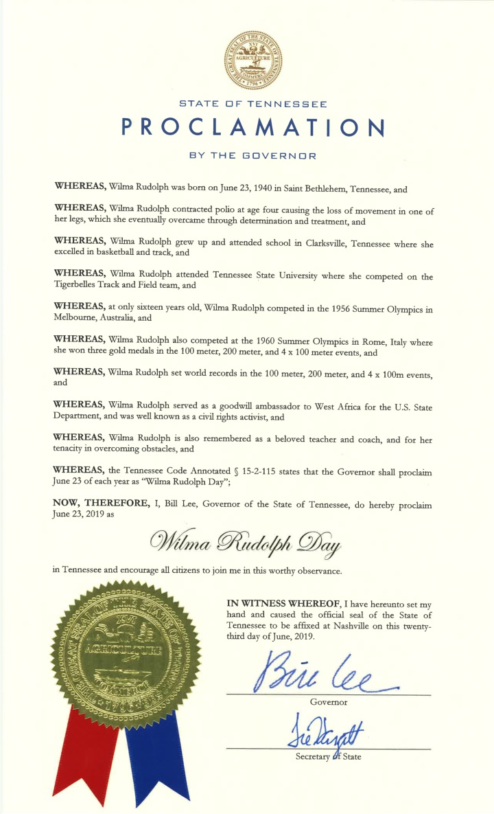 state of tennessee proclamation