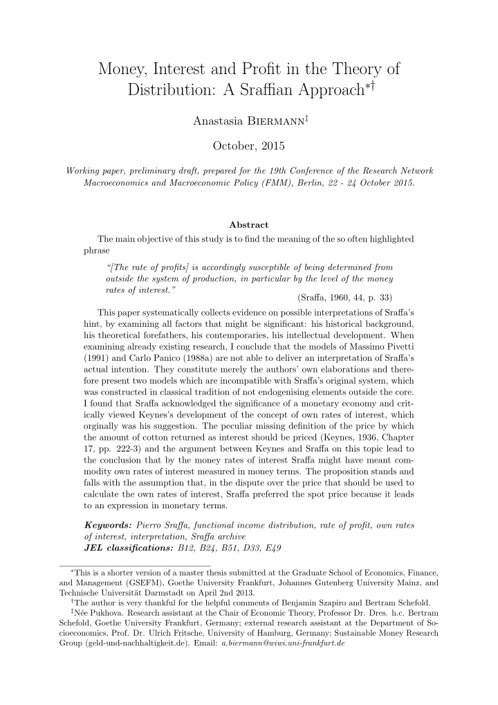 money interest and profit in the theory