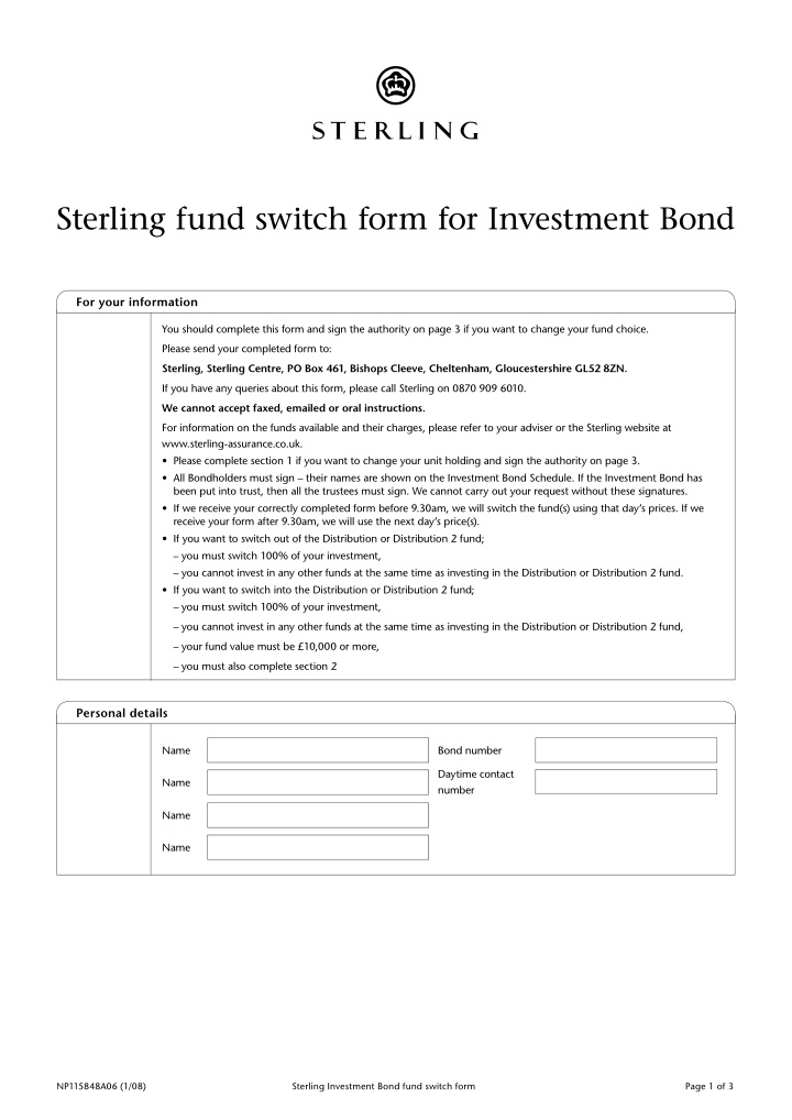 sterling fund switch form for investment bond