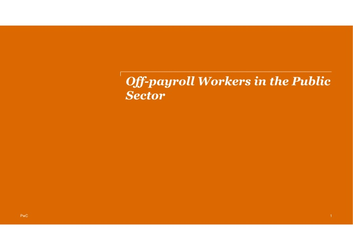 off payroll workers in the public sector