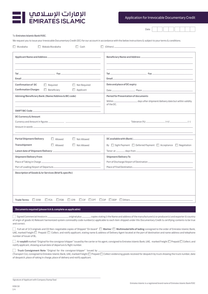 application for irrevocable documentary credit
