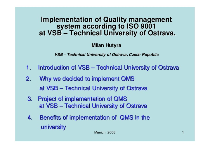 i implementation mplementation of quality
