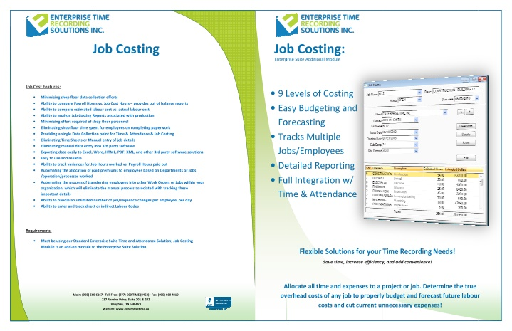 job costing enterprise job costing enterprise